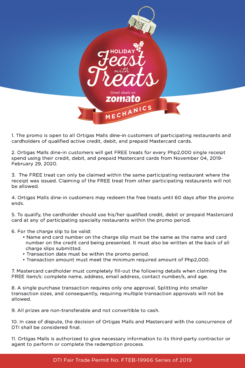 2019 MASTERCARD FEAST WITH TREATS Mechanics